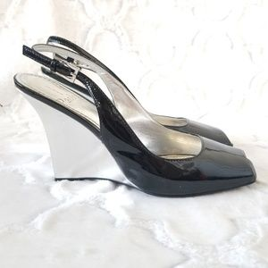 Linea Paolo Black Silver Patent Wedge Sling Back